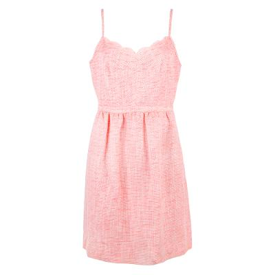 sleeveless scallop mini dress pink